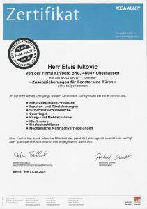 Schlüsseldienst Oberhausen Urkunde